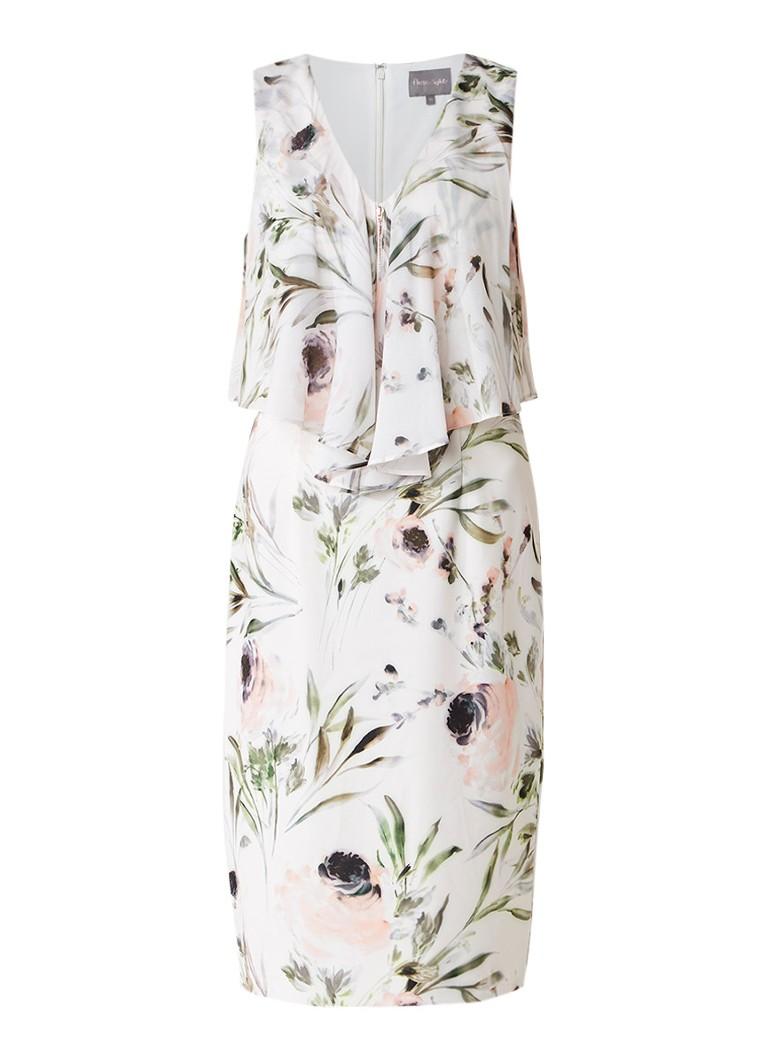 Phase Eight Estea jurk met bloemendessin en overlay met volant gebroken wit