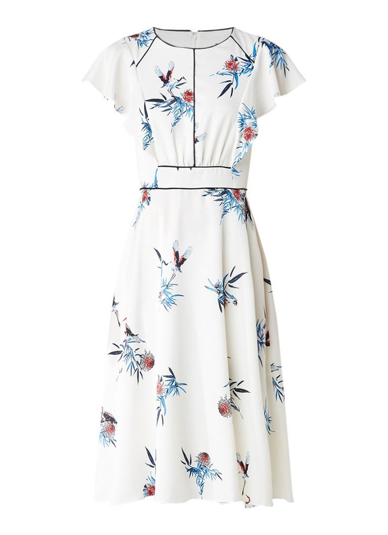 Phase Eight Gwyneth A-lijn jurk van satijn met volantmouw wit