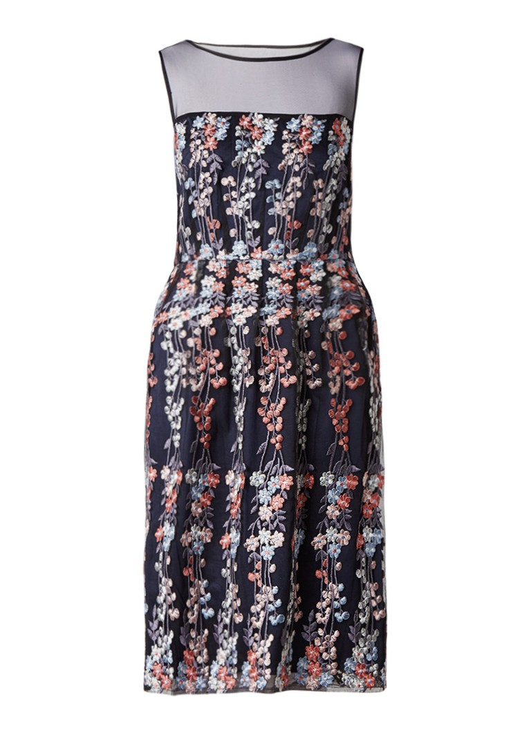 Phase Eight Gabriella jurk met borduring en detail van mesh donkerblauw