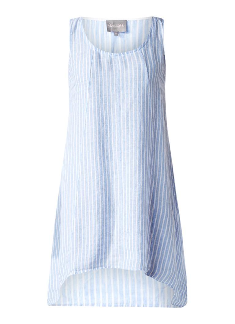 Phase Eight Bryony jurk van linnen met streepdessin lichtblauw