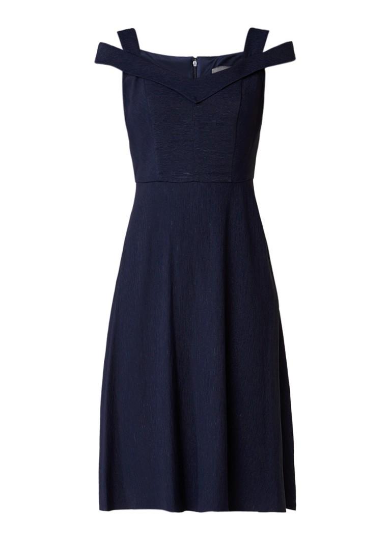 Phase Eight Gillenia cold shoulder jurk met structuur donkerblauw