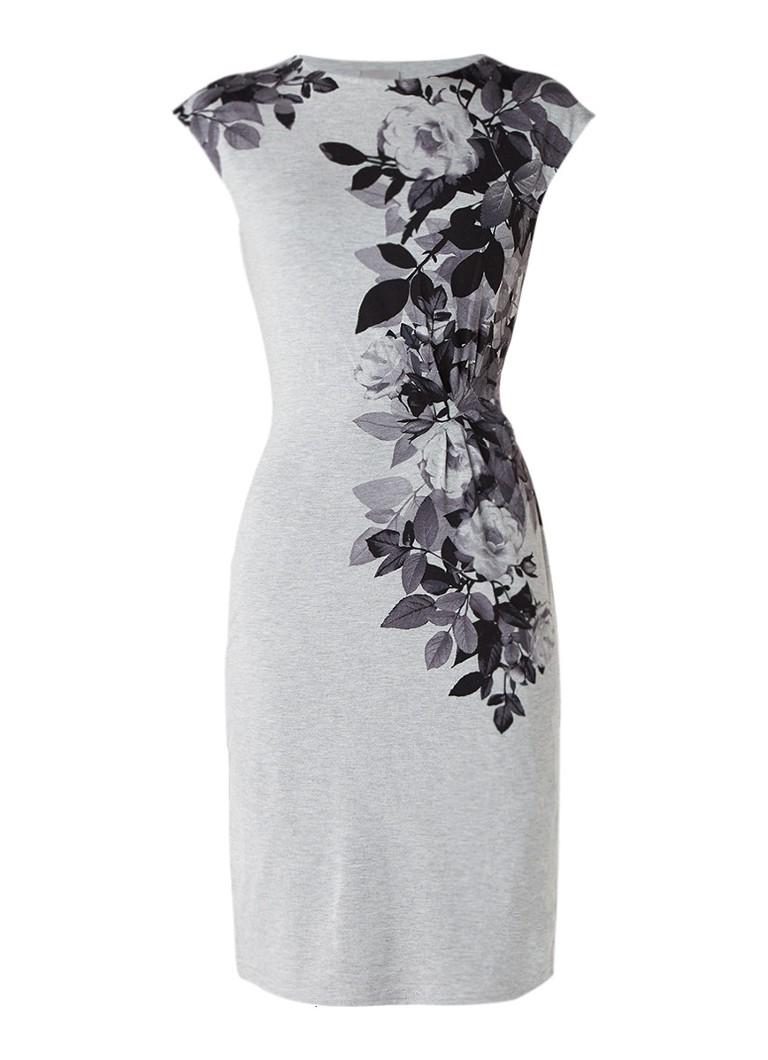 Phase Eight Chantay midi-jurk met plooidetail en bloemendessin grijs