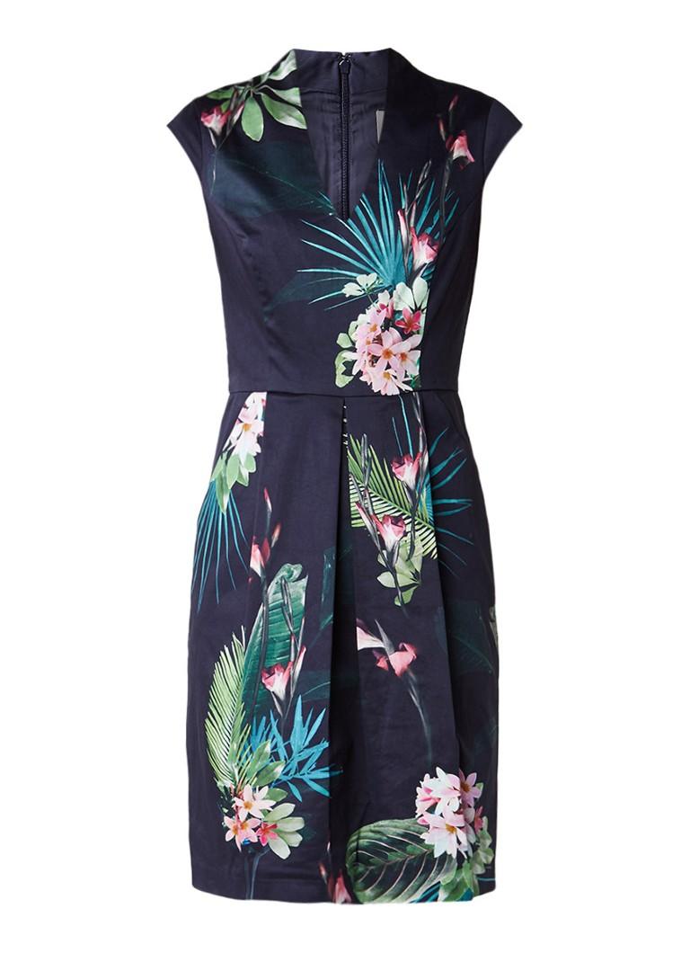 Phase Eight Mila getailleerde jurk met botanisch dessin donkerblauw