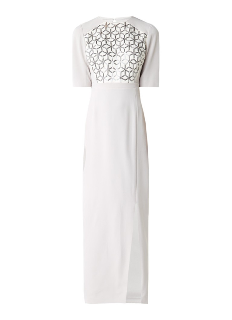 Phase Eight Hetty lange jurk met kraalversiering lichtgrijs