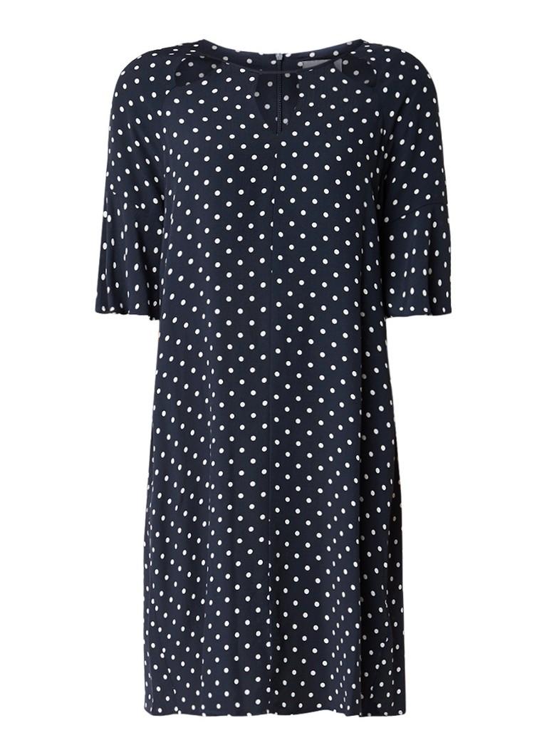 Phase Eight Zoe jurk met stippendessin en cut-outs donkerblauw