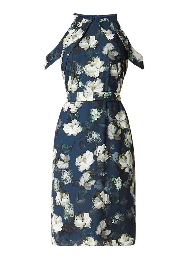 Phase Eight Kendra cold shoulder midi-jurk met bloemendessin donkerblauw