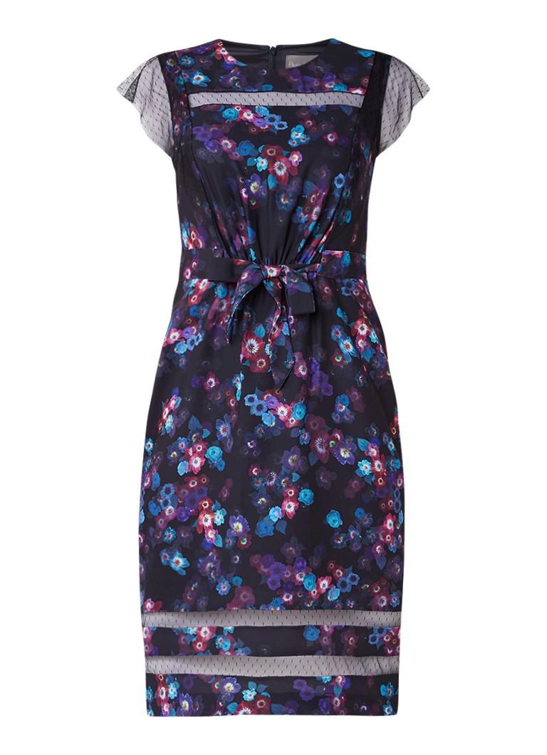 Phase Eight Kacy jurk met bloemendessin en striksluiting zwart