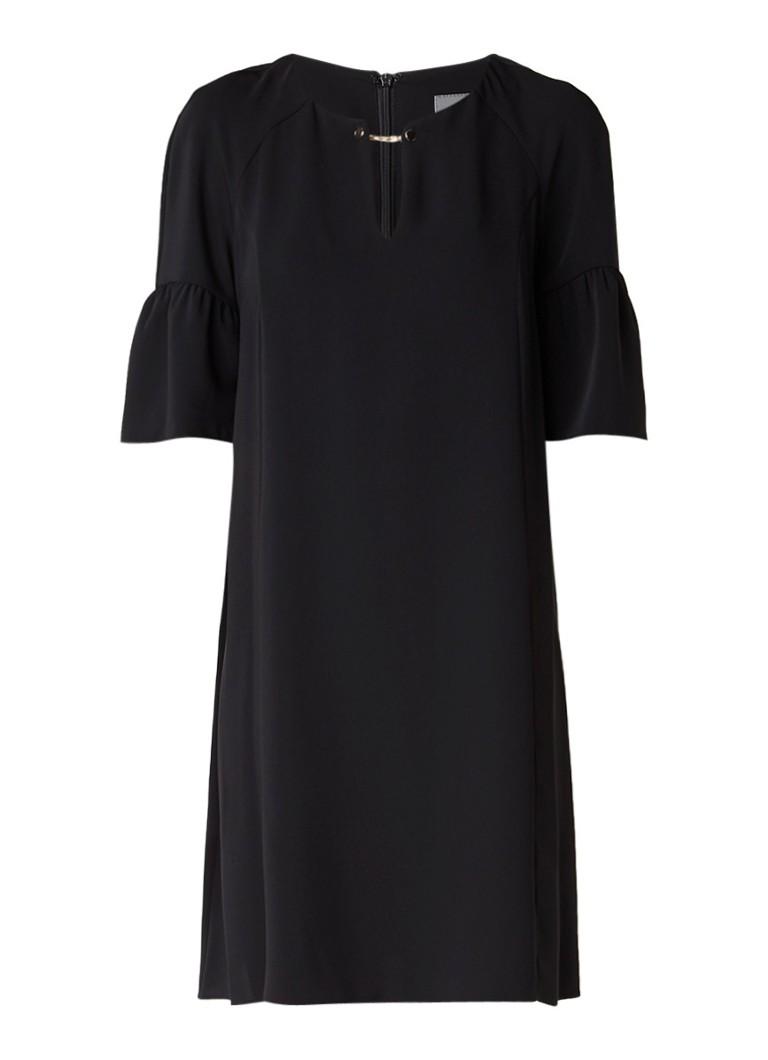 Phase Eight Cara midi-jurk met schakeldetail en trompetmouw zwart