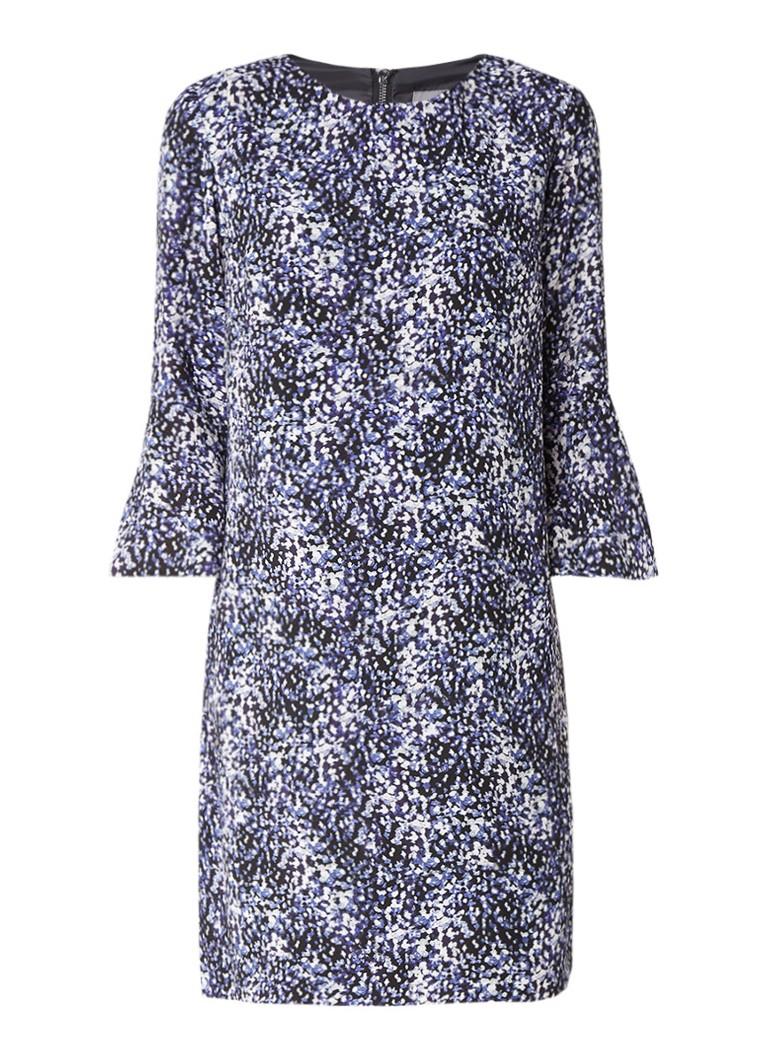 Phase Eight Lia midi-jurk met trompetmouw en stippendessin royalblauw