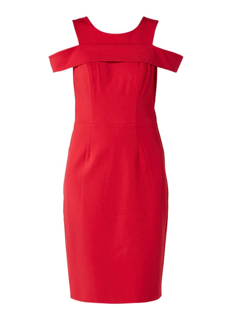 Phase Eight Martina cold shoulder jurk met volant rood