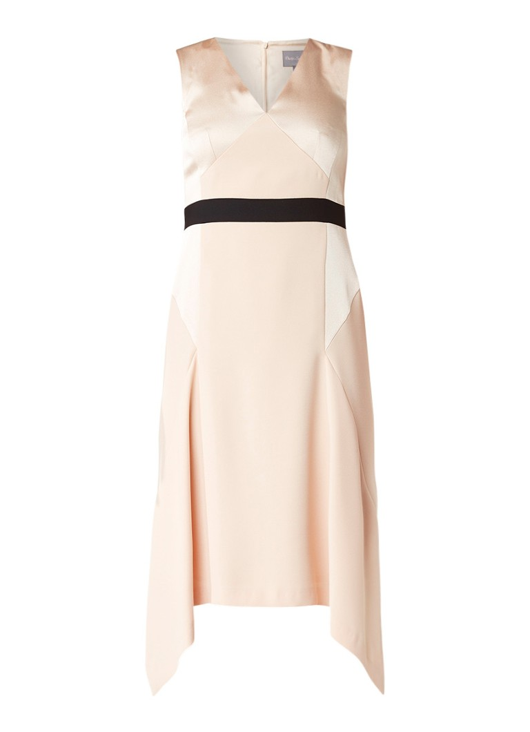 Phase Eight Felicia midi-jurk met contrasterende taillebies lichtroze