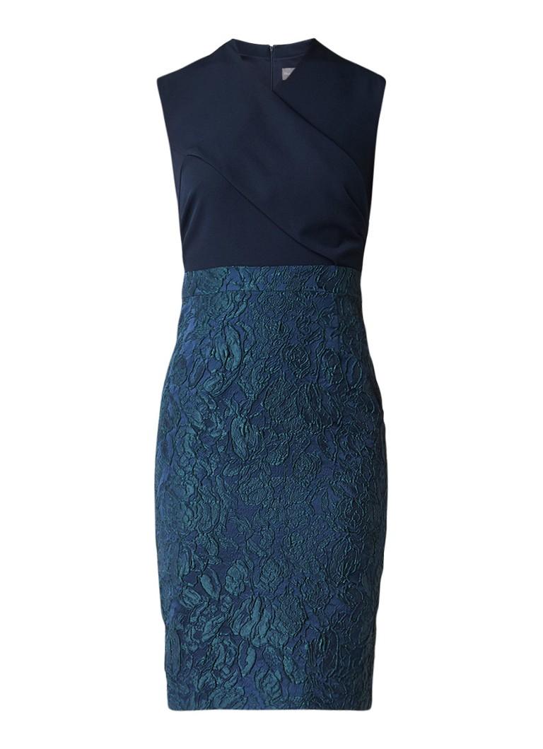 Phase Eight Jacqueline jacquard midi-jurk met overslag donkerblauw