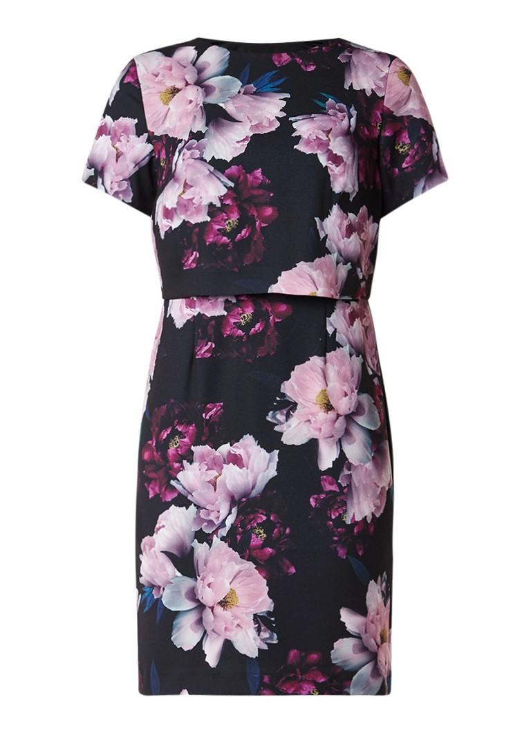 Phase Eight Kaylor midi-jurk met overlay en bloemdessin zwart