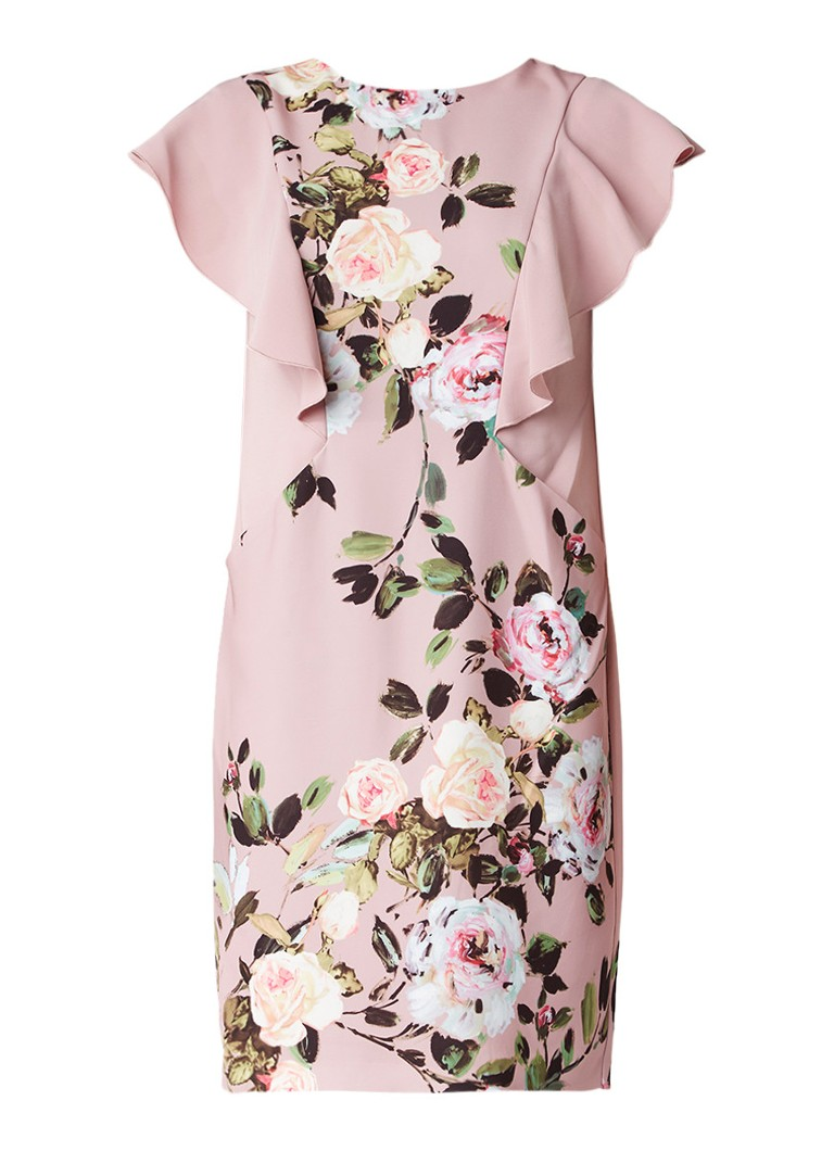 Phase Eight Livvy jurk met bloemendessin en ruches oudroze