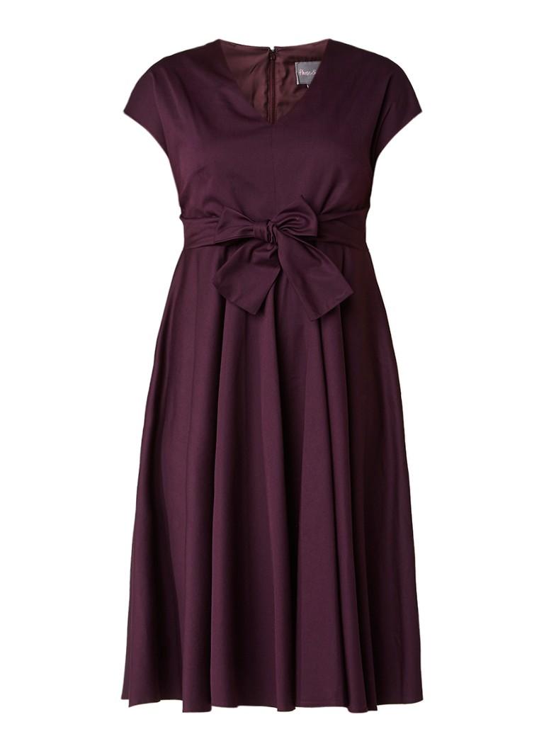 Phase Eight Leia A-lijn jurk met strik aubergine
