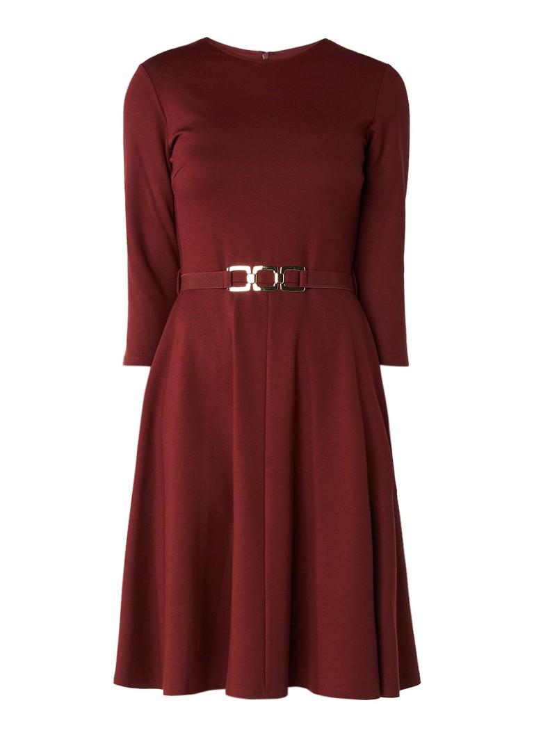 Phase Eight Ponte A-lijn jurk van jersey met ceintuur steenrood