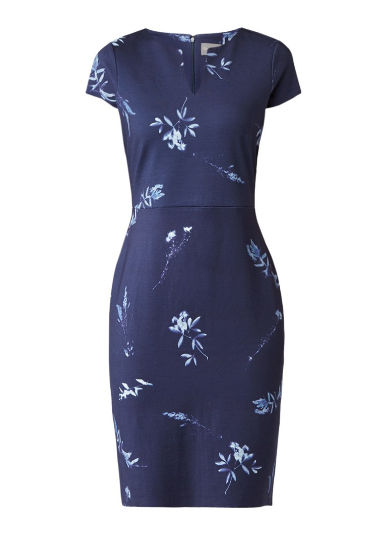 Phase Eight Megan midi-jurk met bloemendessin donkerblauw