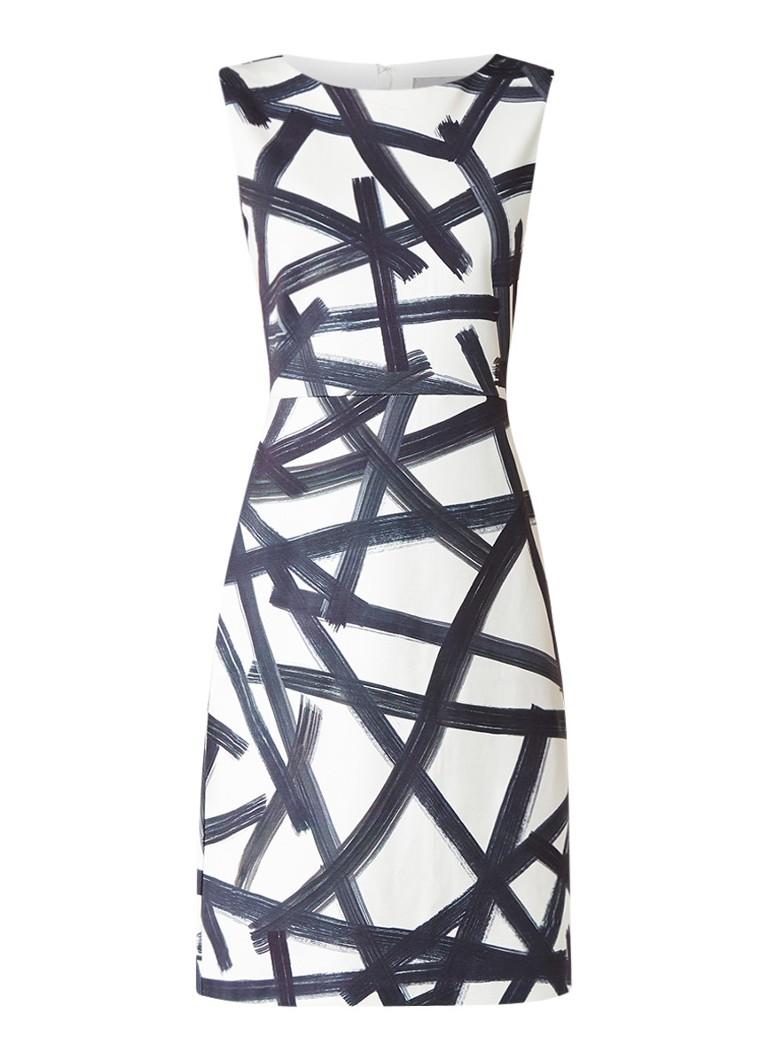 Phase Eight Bea Brush midi-jurk met dessin ivoor