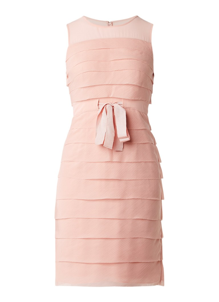Phase Eight Gaselle semi-transparante midi-jurk met lagen lichtroze