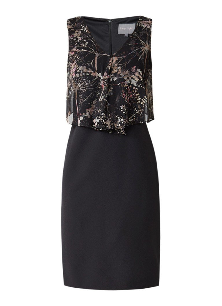 Phase Eight Karli jurk met overlay en dessin zwart