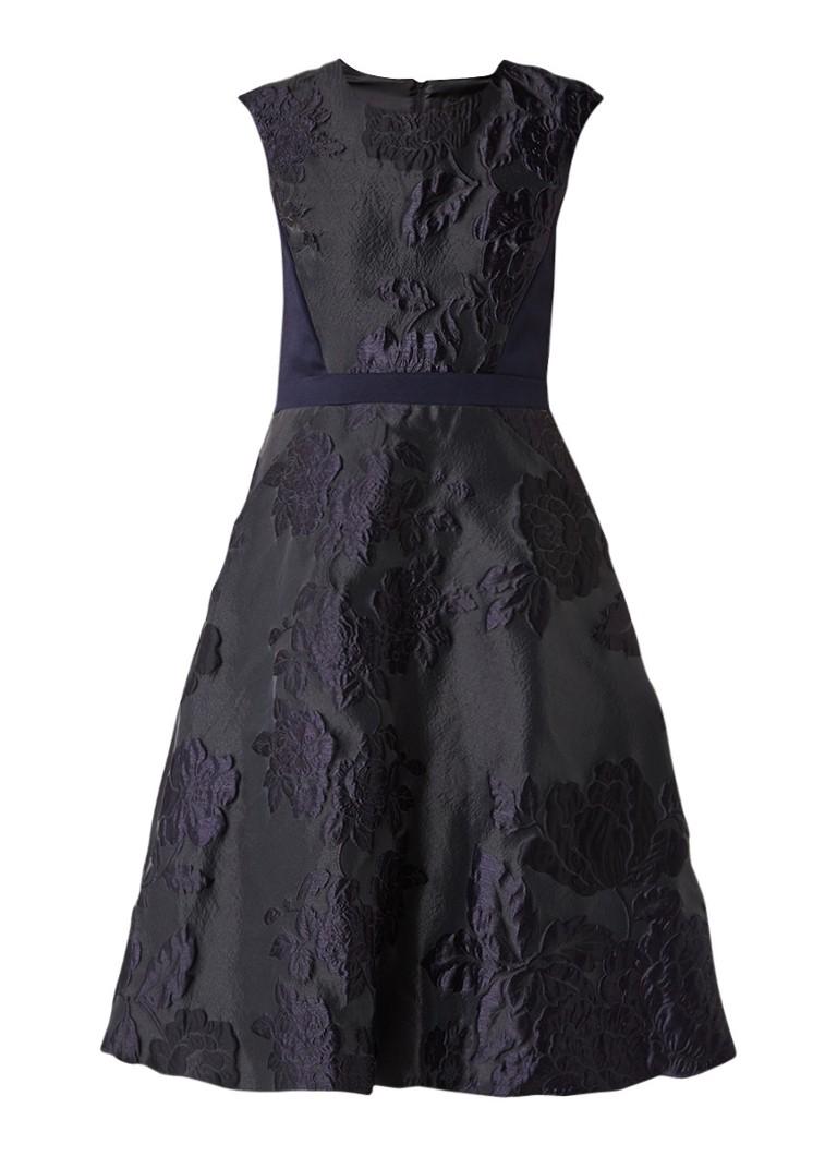 Phase Eight Adara jacquard A-lijn midi-jurk donkerblauw