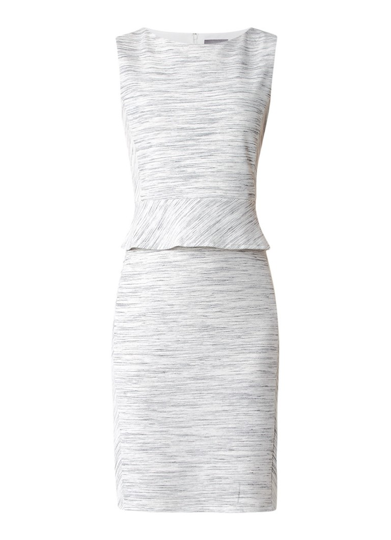 Phase Eight Tamara gemêleerde jersey jurk met peplum lichtgrijs