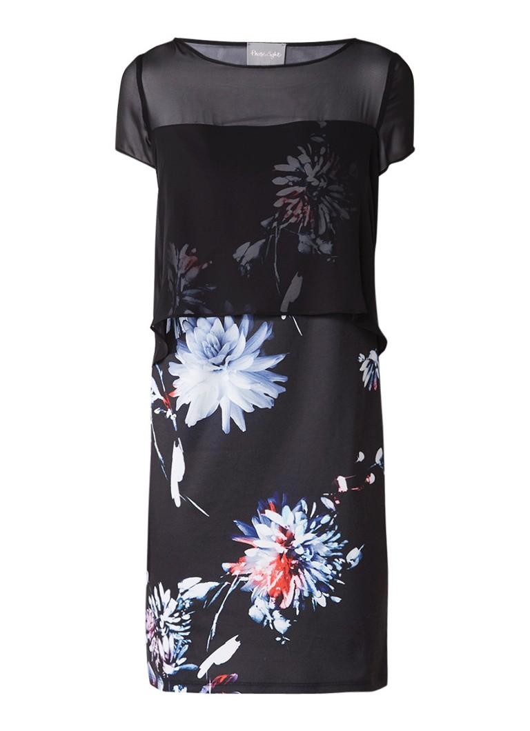 Phase Eight Osaka jurk met overlay en bloemendessin donkerblauw