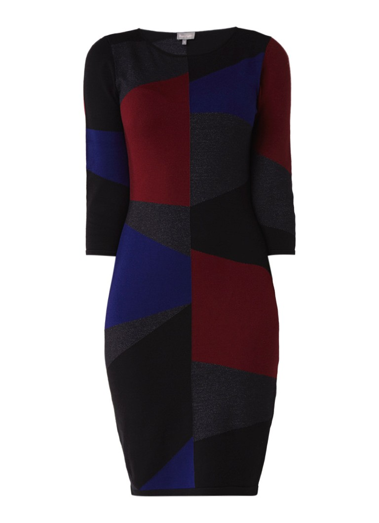 Phase Eight Carola fijngebreide midi-jurk met geblokt dessin bordeauxrood