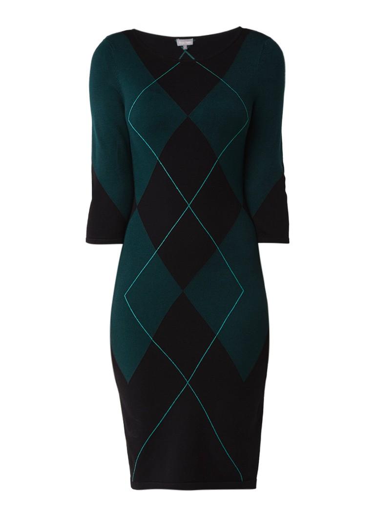 Phase Eight Adriene fijngebreide midi-jurk met ruitdessin donkergroen