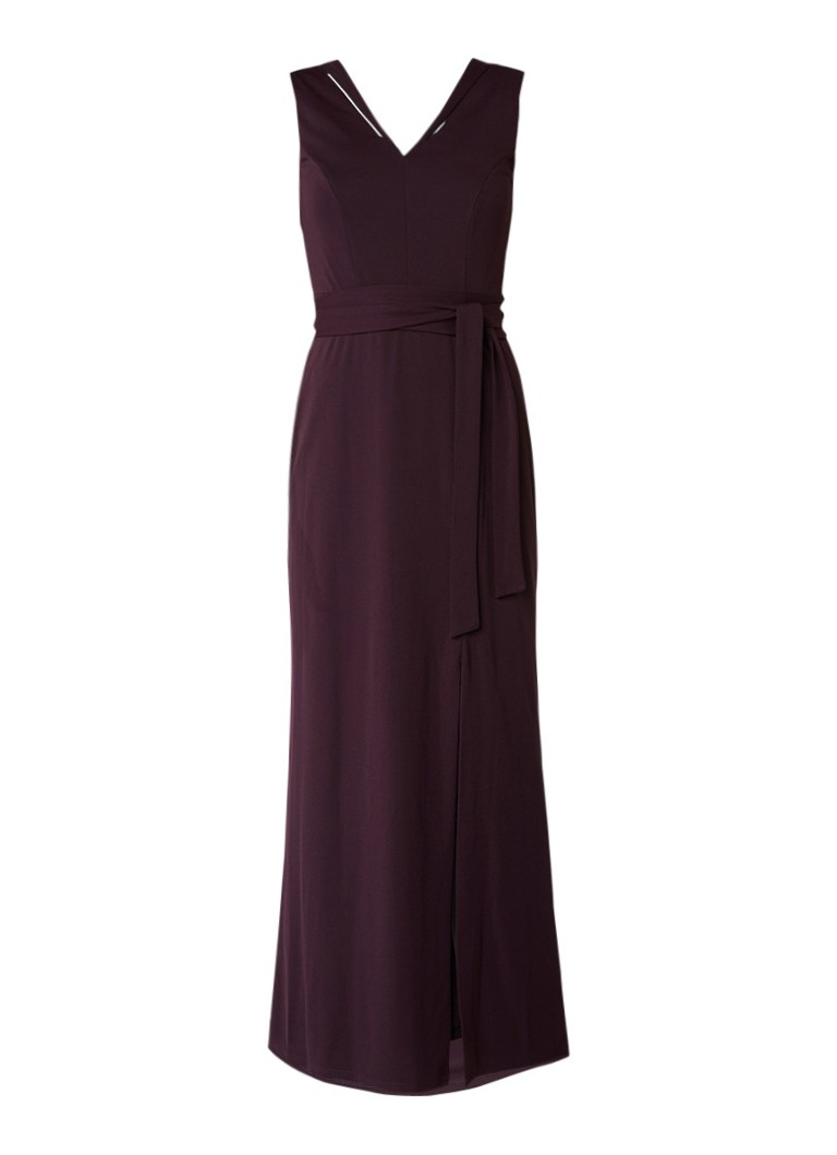 Phase Eight Azuli maxi-jurk met split aubergine