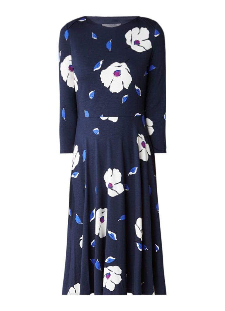 Phase Eight Cassie midi-jurk in bloemendessin donkerblauw