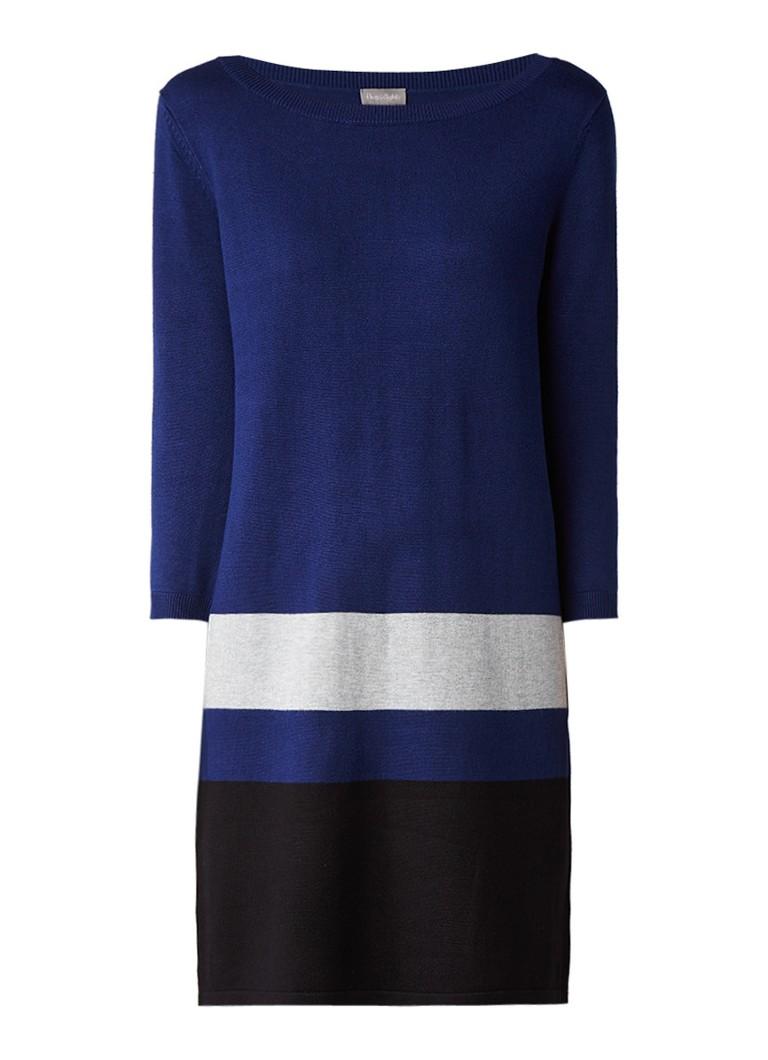 Phase Eight Celine fijngebreide jurk met colour blocking donkerblauw