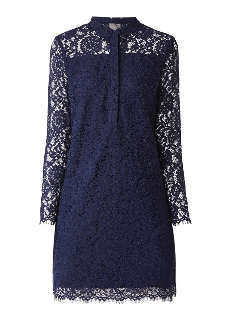 Phase Eight Romano jurk van kant met kraag donkerblauw