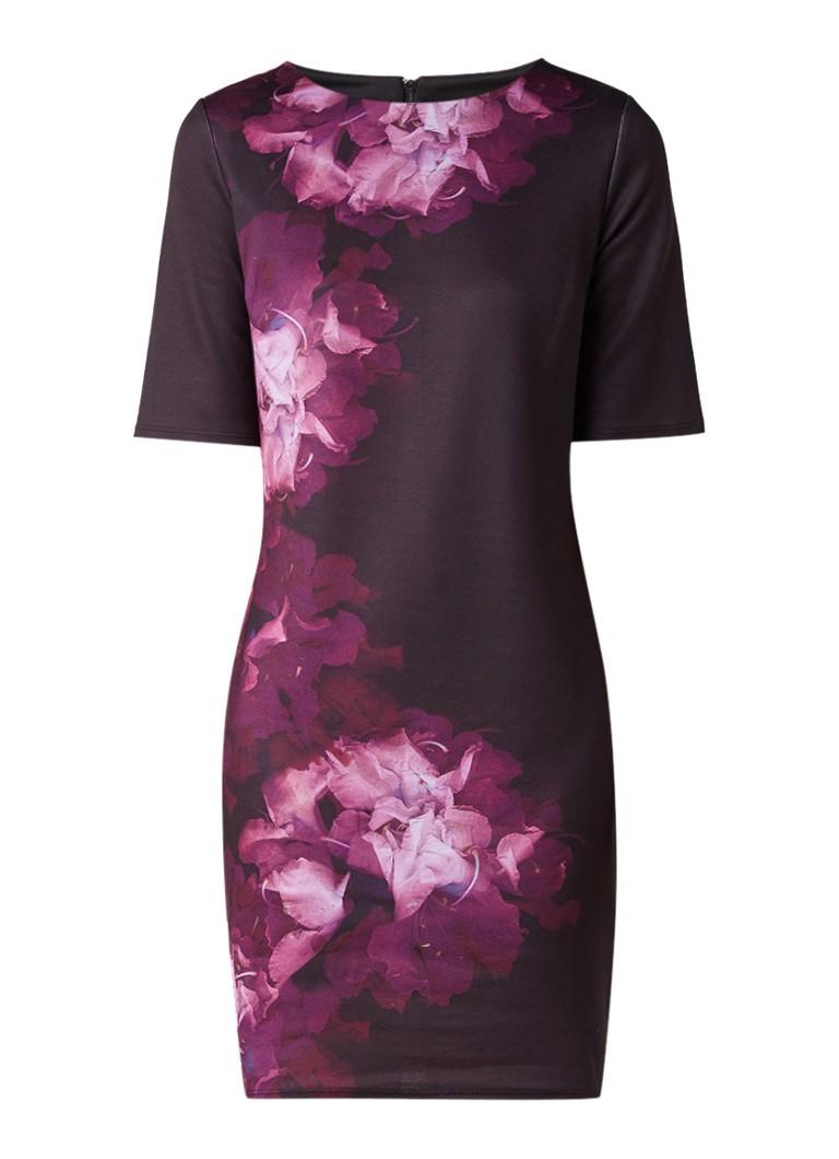 Phase Eight Davina midi-jurk met bloemendessin aubergine