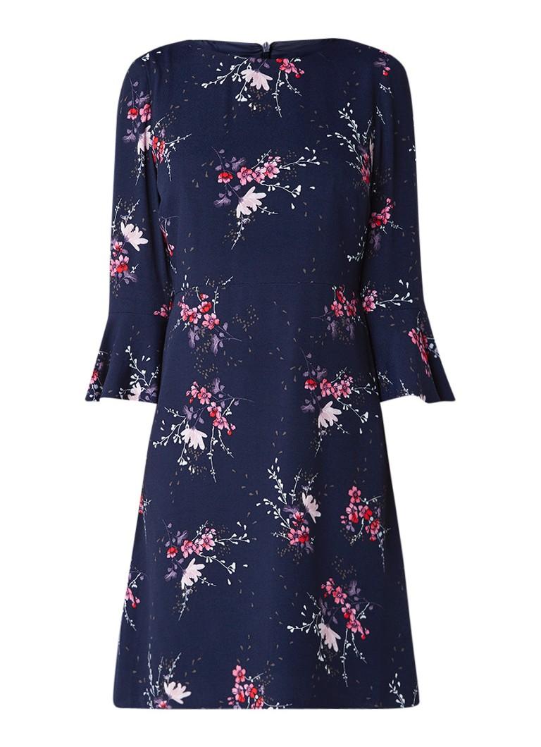 Phase Eight Nina jurk van crêpe met bloemenprint donkerblauw