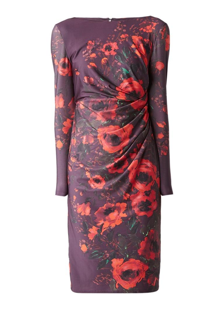 Phase Eight Wilhelmina midi-jurk met draperie en bloemendessin aubergine