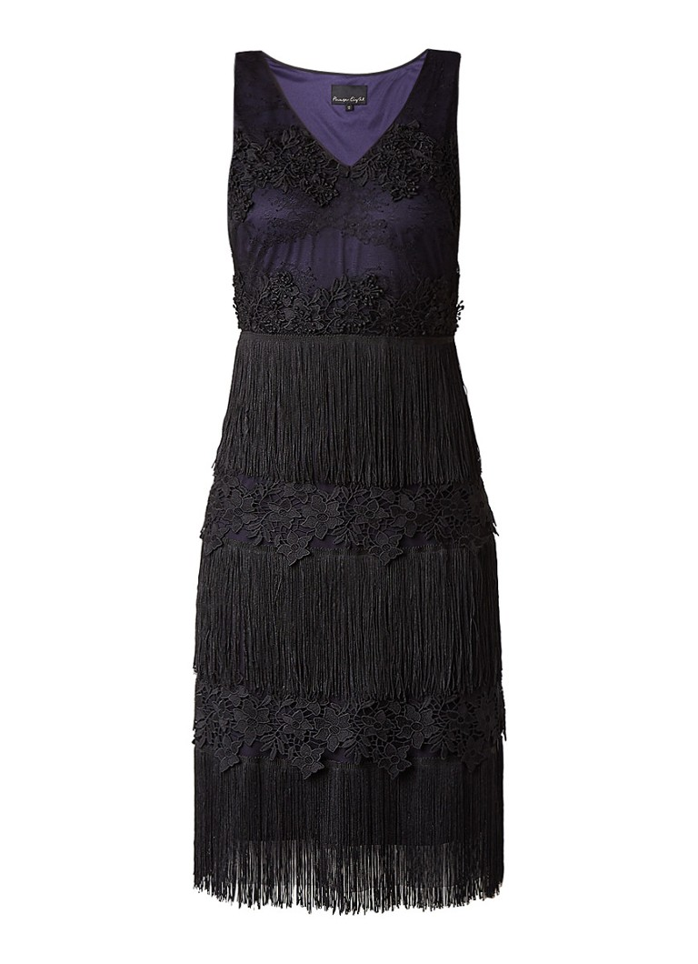 Phase Eight Bailey midi-jurk met kant en franjes donkerblauw