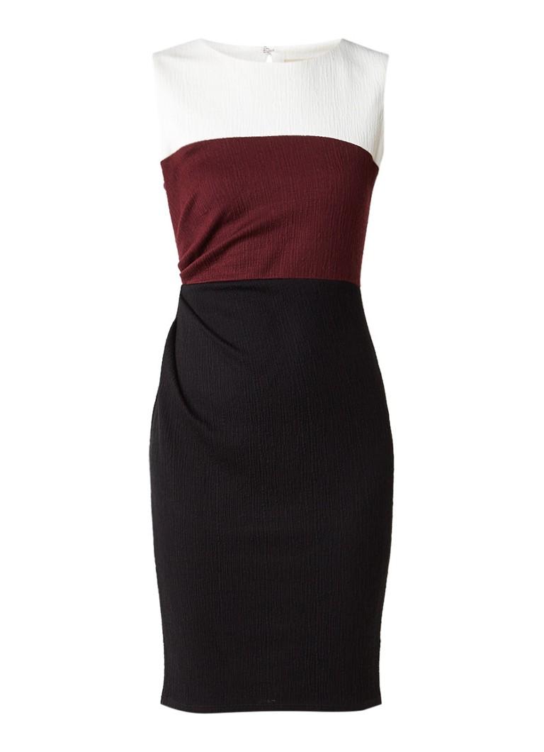 Phase Eight Cora midi-jurk met plooidetail en colour blocking bordeauxrood
