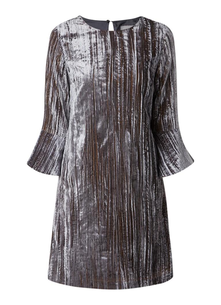 Phase Eight Arielle jurk van fluweel met trompetmouw zilver