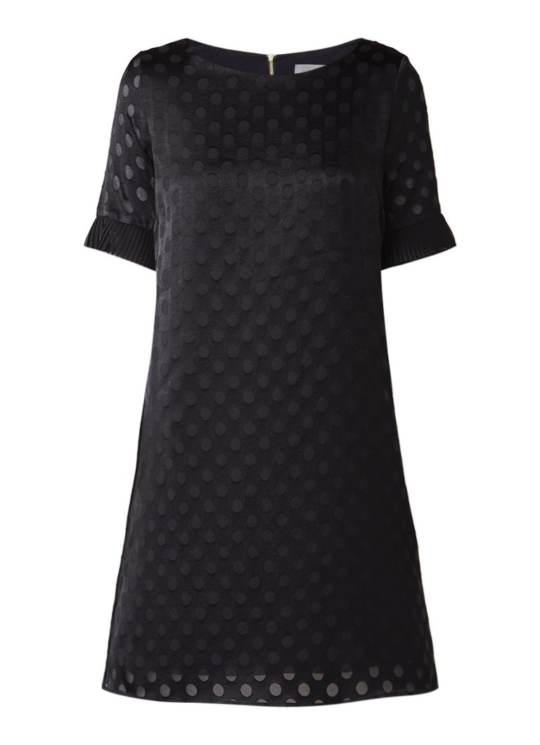 Phase Eight Andrea A-lijn jurk met stippendessin en volantmouw zwart
