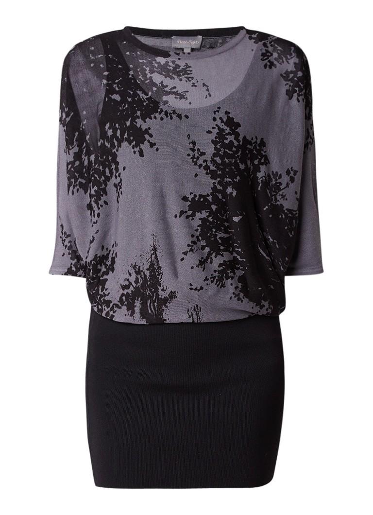 Phase Eight Becca fijngebreide jurk met dessin zwart