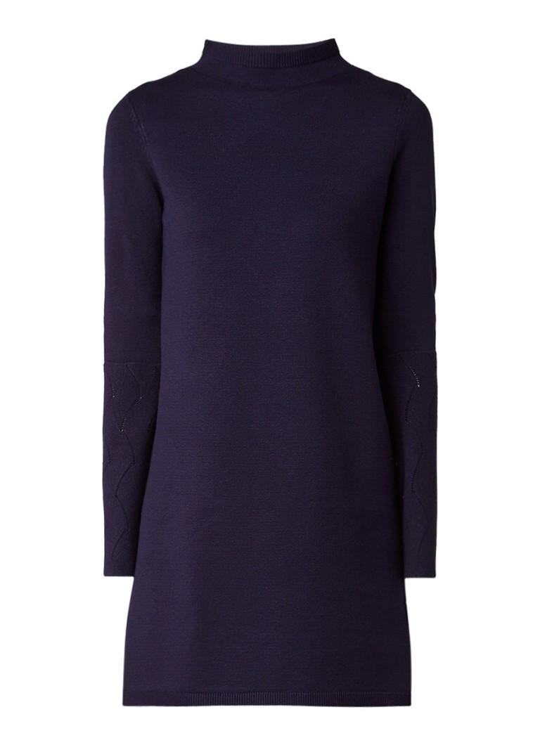 Phase Eight Filicia fijngebreide jurk met trompetmouw donkerblauw