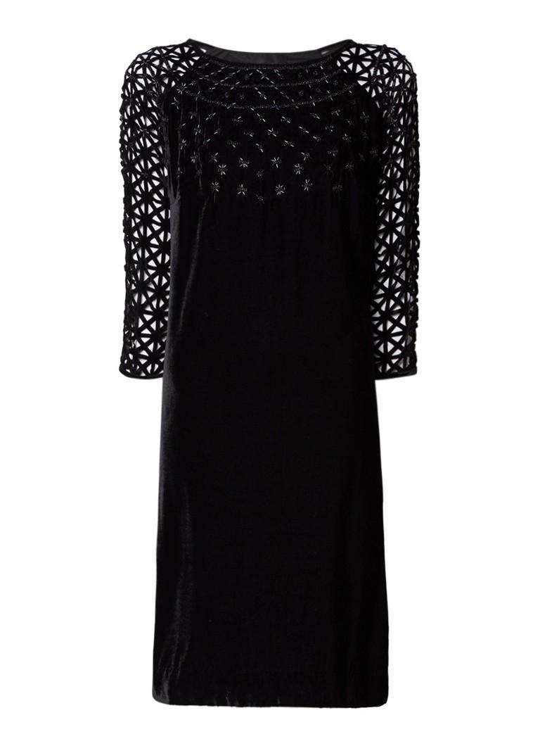 Phase Eight Nikita jurk van fluweel met kralen en perforaties zwart