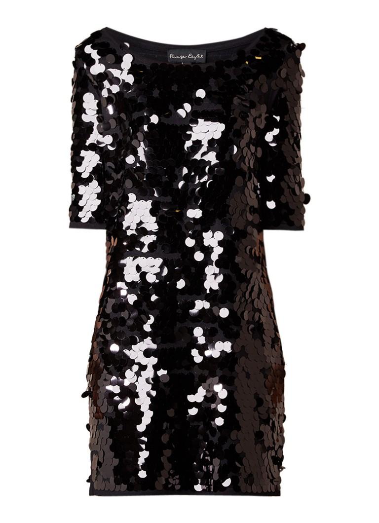 Phase Eight Belda jurk van jersey met glanzende pailletten zwart