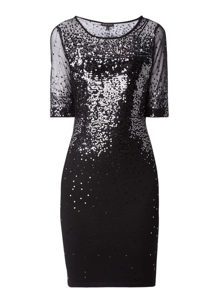 Phase Eight Orlena midi-jurk met pailletten en mesh zwart