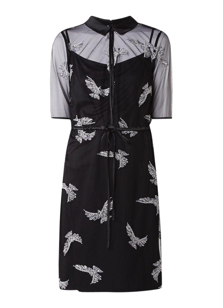 Phase Eight Mira blousejurk van mesh met geborduurde vogels zwart