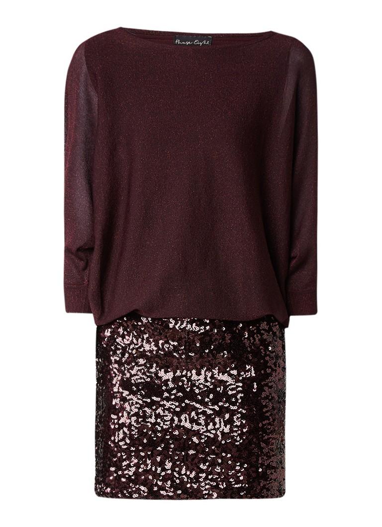 Phase Eight Geonna fijngebreide jurk met rok van pailletten donkerrood