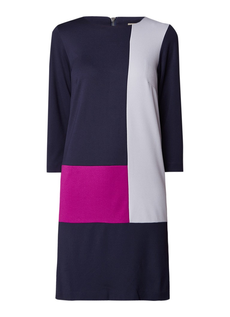 Phase Eight Cindy midi-jurk met colour blocking donkerblauw