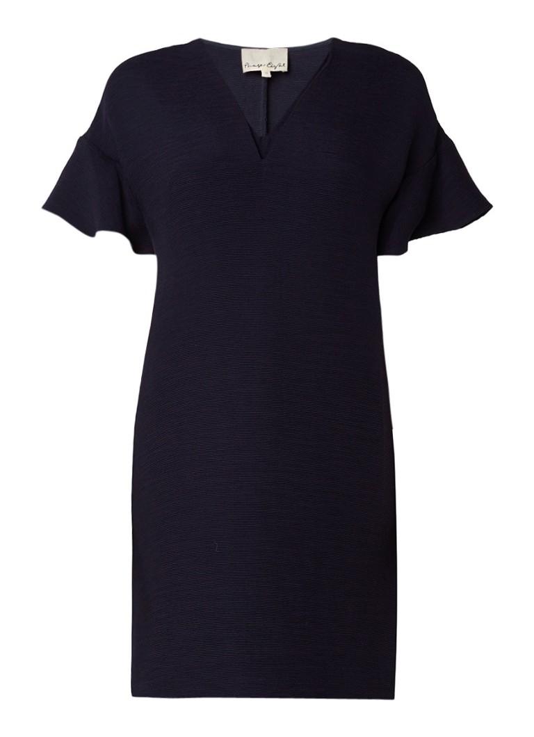 Phase Eight Vivian ribgebreide midi-jurk met volant donkerblauw