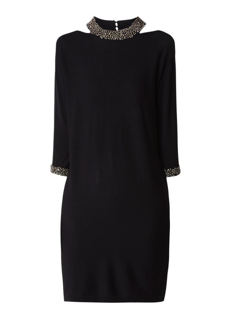 Phase Eight Elle fijngebreide jurk met cut-out en strass zwart